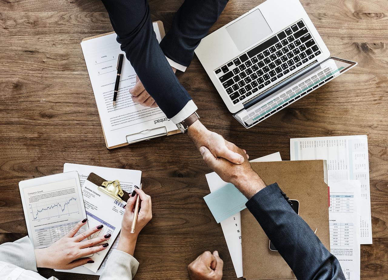 Salesperson closing a deal