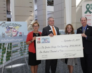 2017 DEFEAT HUNGER campaign at PROCESS EXPO - $100,000 Check for Greater Chicago Food Depository